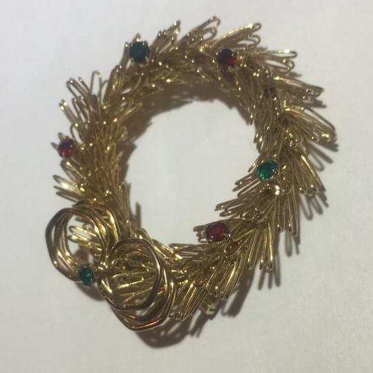 Vintage Vintage Gold Wire Christmas Wreath Stone Brooch Pin Image 2