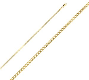 Top Gold & Diamond Jewelry 14k Yellow Gold 2.4 mm Hollow Cuban Chain - 18
