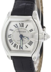 Cartier MINT Cartier Roadster Automatic Silver 36mm Black Leather Date Watch