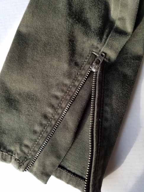 Express Ankle Skinny Cotton Capri/Cropped Pants Green Image 2
