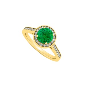 DesignerByVeronica May Birthstone Created Emerald and Cubic Zirconia Halo Engagement Ring