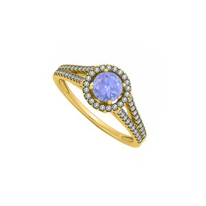 DesignerByVeronica Created Tanzanite and CZ Halo Split Shank Engagement Ring 14K Yellow G
