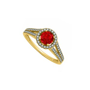 DesignerByVeronica July Birthstone Created Ruby with CZ Halo Split Shank Engagement Ring