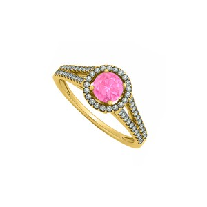 DesignerByVeronica Conflict Free CZ and Created Pink Sapphire Halo Split Shank Engagement