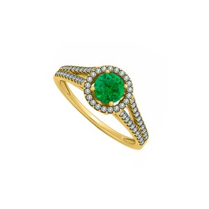 DesignerByVeronica Created Emerald and CZ Halo Split Shank Engagement Ring 14K Yellow Gol