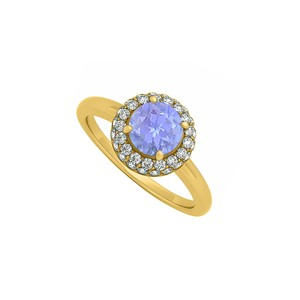 DesignerByVeronica 0.75 CT Created Tanzanite and Cubic Zirconia Halo Engagement Ring 14K