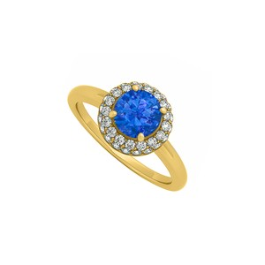 DesignerByVeronica 0.75 CT Created Sapphire and Cubic Zirconia Halo Engagement Ring 14K Y