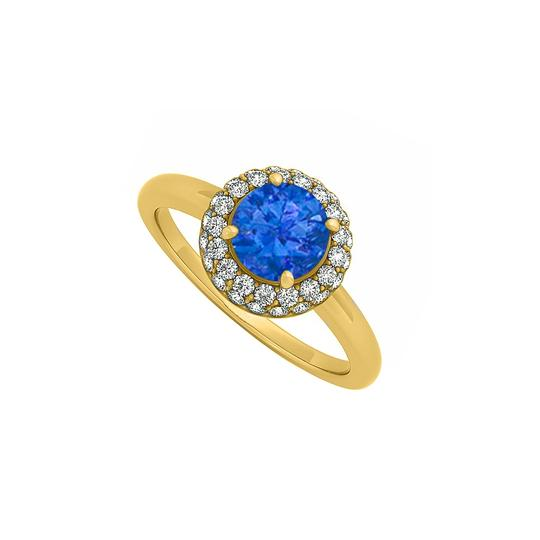 Preload https://img-static.tradesy.com/item/24322345/blue-075-ct-created-sapphire-and-cubic-zirconia-halo-engagement-14k-y-ring-0-0-540-540.jpg