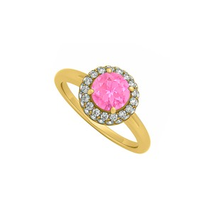 DesignerByVeronica 0.75 CT Created Pink Sapphire and Cubic Zirconia Halo Engagement Ring