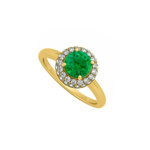 DesignerByVeronica 0.75 CT Created Emerald and Cubic Zirconia Halo Engagement Ring 14K Ye