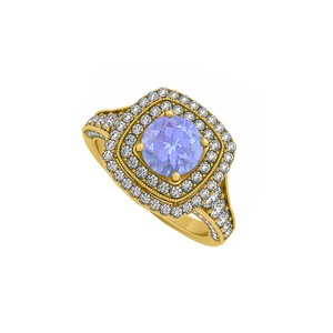 DesignerByVeronica Created Tanzanite and CZ Double Halo in Yellow Gold Engagement Ring