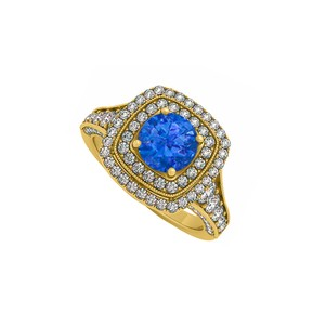 DesignerByVeronica Created Sapphire and CZ Double Halo 14K Yellow Gold Engagement Ring