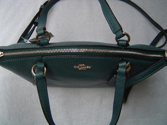 Coach Leather Kelsey Tote Bright Mineral Blue Cross Body Bag Image 4