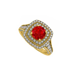 DesignerByVeronica Created Ruby and CZ Double Halo in Yellow Gold Engagement Ring