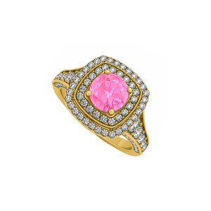 DesignerByVeronica Created Pink Sapphire and CZ Double Halo 14K Yellow Gold Engagement Ri