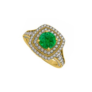 DesignerByVeronica Created Emerald and CZ Double Halo Yellow Gold Engagement Ring
