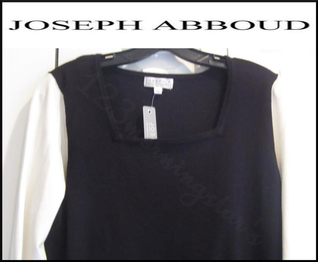 Joseph Abboud Colorblock 3/4 Sleeves Ribbed Trim Square Neck Salt/Pepper Sweater Image 1