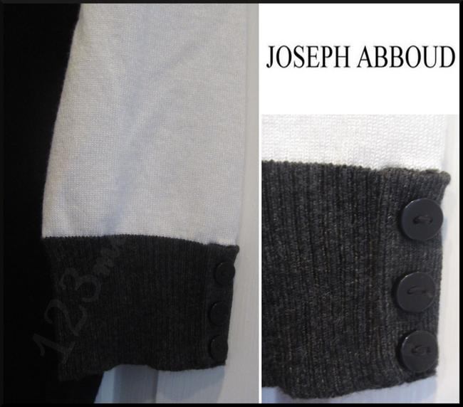 Joseph Abboud Colorblock 3/4 Sleeves Ribbed Trim Square Neck Salt/Pepper Sweater Image 4