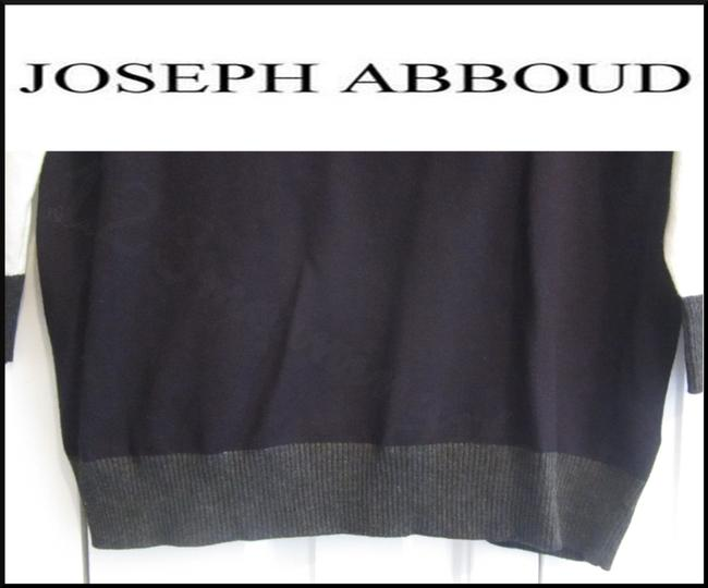 Joseph Abboud Colorblock 3/4 Sleeves Ribbed Trim Square Neck Salt/Pepper Sweater Image 6