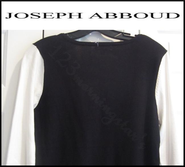 Joseph Abboud Colorblock 3/4 Sleeves Ribbed Trim Square Neck Salt/Pepper Sweater Image 8