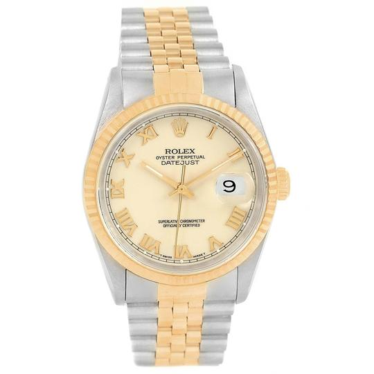 Rolex Rolex Datejust Stainless Steel Yellow Gold Mens Watch 16233 Box Papers Image 1