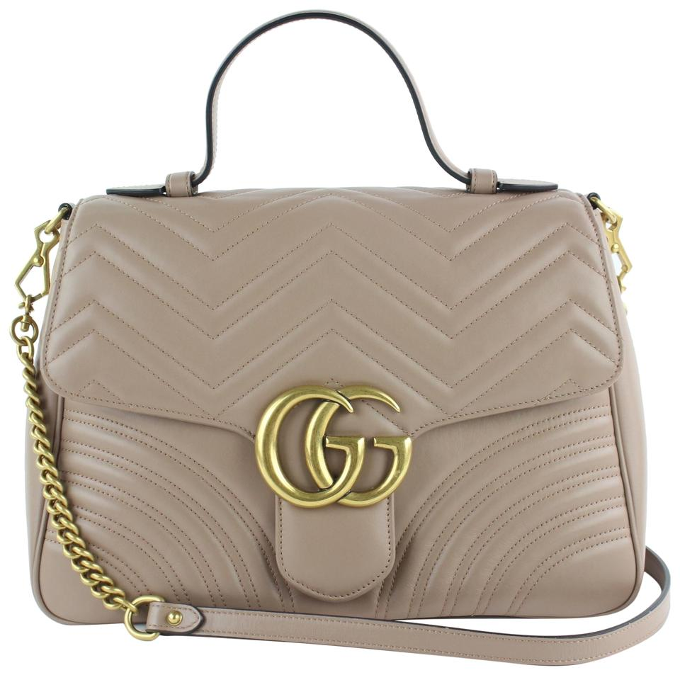 6475d2f47ba Gucci Marmont Matelasse Medium Gg Top Handle 8gz1106 Taupe Leather Satchel