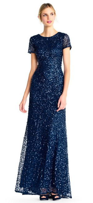 Adrianna Papell Evening Gown Wedding Sequin Sequin Gown Dress Image 3