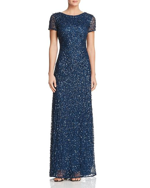 Adrianna Papell Evening Gown Wedding Sequin Sequin Gown Dress Image 4