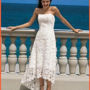 Alfred Angelo White Lace Hi-lo Gown Casual Wedding Dress Size 2 (XS)