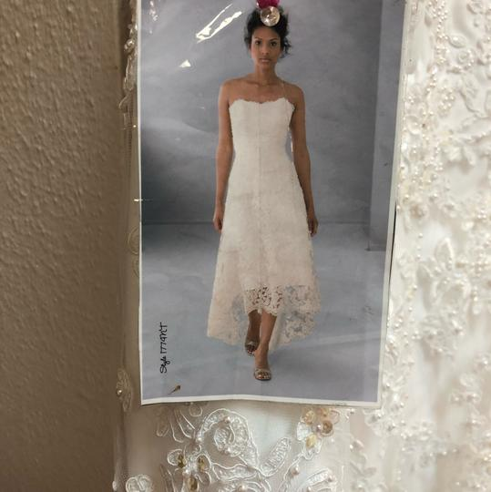 Alfred Angelo White Lace Hi-lo Gown Casual Wedding Dress Size 2 (XS) Image 1