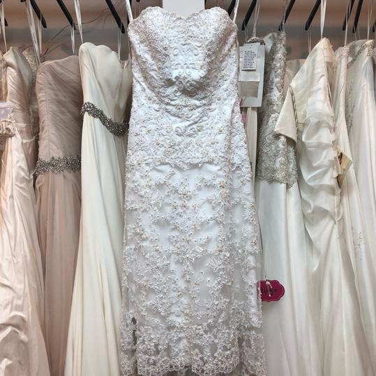 Alfred Angelo White Lace Hi-lo Gown Casual Wedding Dress Size 2 (XS) Image 9