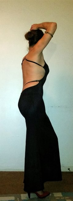 David Dalrymple for House of Field Jersey Full Length Backless Vintage Dress Image 2
