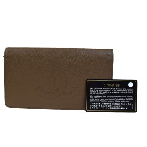 Chanel CHANEL CC Long Bifold Wallet Purse Caviar Skin Leather Brown Italy