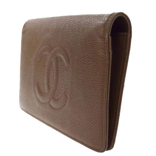Chanel CHANEL CC Long Bifold Wallet Purse Caviar Skin Leather Brown Italy Image 1