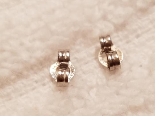 Stamped 14K White Gold Sapphire Heart Stud Earrings Image 3