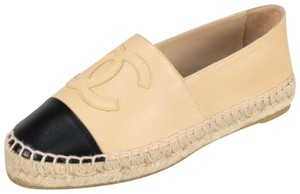 Chanel Leather Espadrille Monogram Black Flats