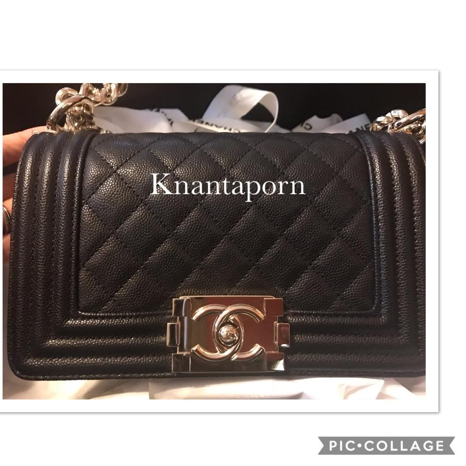 6bcebd2847ad Chanel Boy Small with Gold Hardware Black Caviar Cross Body Bag ...