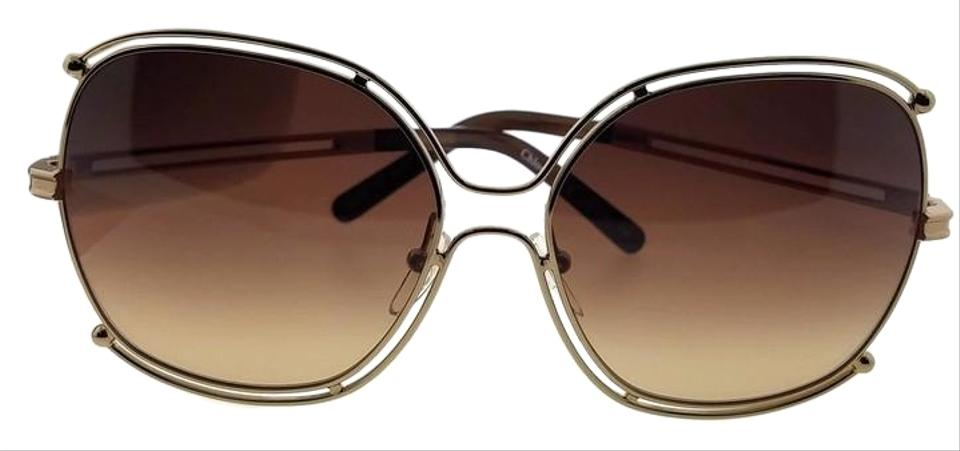 6eec627705 Chloé Ce129s-784-59 Square Women s Gold Frame Brown Lens Genuine Sunglasses
