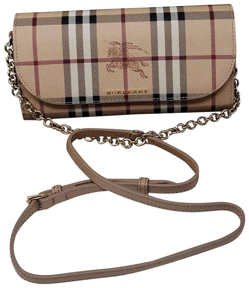 8740518972b Burberry Wallet on Chain Haymarkethenly Brown Canvas Cross Body Bag ...
