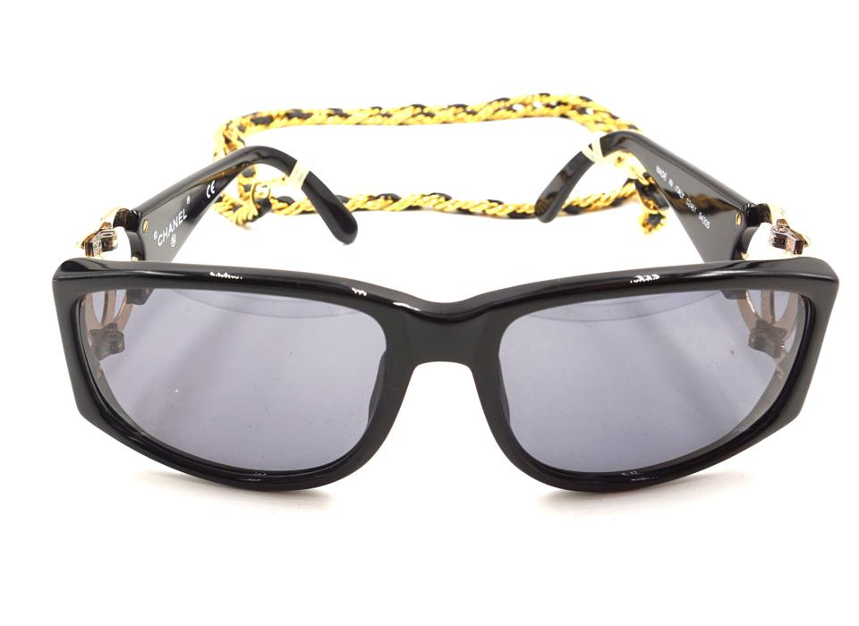 928191cb386 Chanel  23527 Black Rare Long Gold Chain Celebrity Runway Collector s Piece  Sunglasses