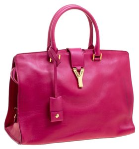 Saint Laurent Cabas Suede Leather Tote in Pink