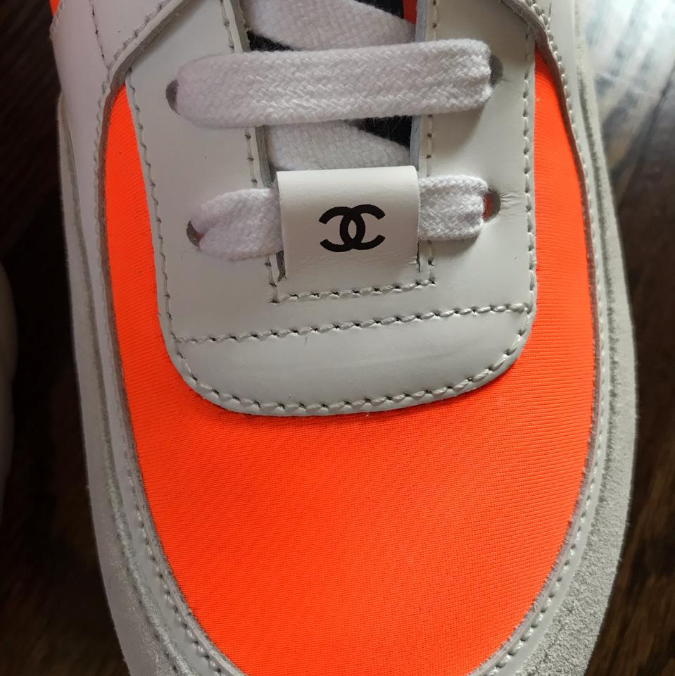 6a473d27 Chanel White Neoprene Orange High Top Sold Out Trainers Sneakers Size EU 41  (Approx. US 11) Regular (M, B)