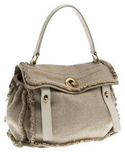 Saint Laurent Muse Fabric Satchel in Beige/White