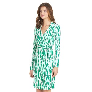 Diane von Furstenberg short dress Green/White Print Wrap Classic on Tradesy