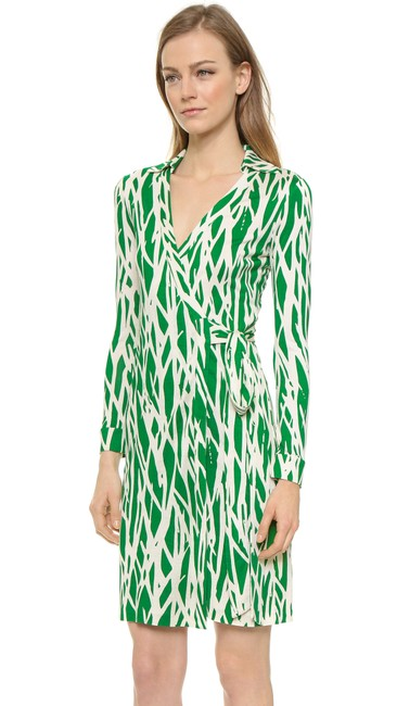 Diane von Furstenberg short dress Green/White Print Wrap Classic on Tradesy Image 2