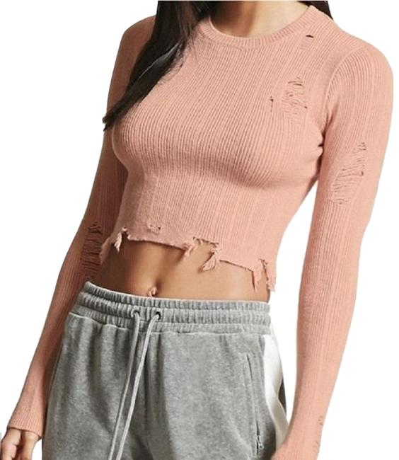 Preload https://img-static.tradesy.com/item/24323763/forever-21-distressed-destroyed-ripped-patched-size-ml-pink-sweater-0-9-650-650.jpg