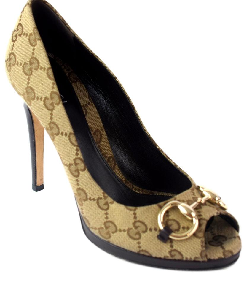 baa1dd50195 Gucci Beige 260035 Guccissima Canvas Open Toe Hollywood Pumps Size ...