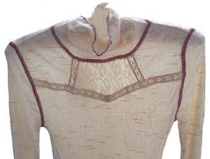 Free People Turtleneck Thermal Lace Lightweight Sweater