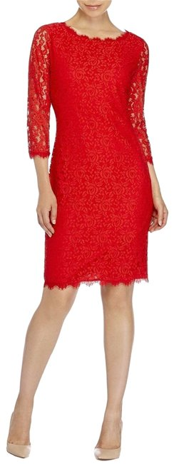 Item - Red Poppy Dvf Colleen Lace Sheath Shift Mid-length Night Out Dress Size 10 (M)