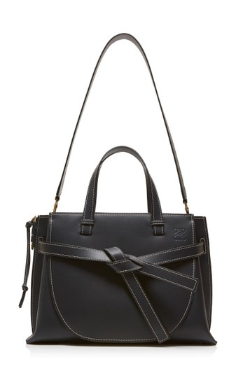 Loewe Small Gate Gate Top Handle Gate Gate Satchel Tote in Blue Midnight Natural Image 1